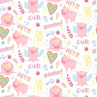 Seamless pattern with funny pigs