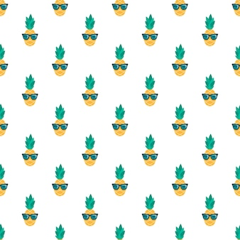 Seamless pattern with funny pineapples