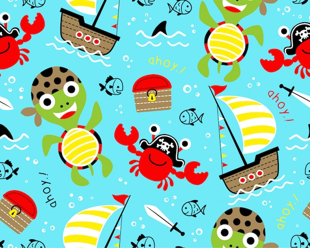 Seamless pattern with funny pirate cartoon