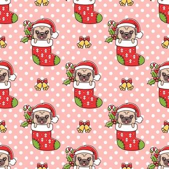 크리스마스 양말에 선물로 재미있는 퍼그와 함께 매끄러운 패턴