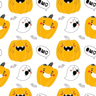 Seamless pattern with funny pumpkins for halloween great for fabric packaging wallpaper vector