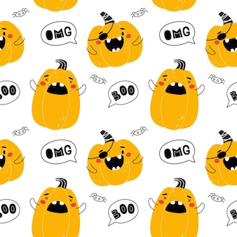 Seamless pattern with funny pumpkins for halloween great for fabric packaging wallpaper vector Premium Vector