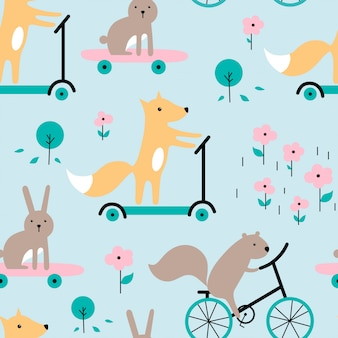 Seamless pattern with funny rabbit, squirrel, fox.