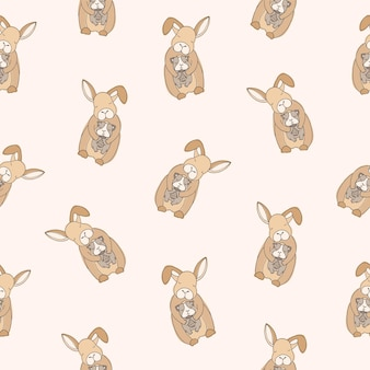 明るい背景にモルモットを保持している目を閉じて面白いウサギとのシームレスなパターン。かわいい抱きしめる漫画家畜やペットの背景。ファブリックプリントのカラフルなベクトルイラスト