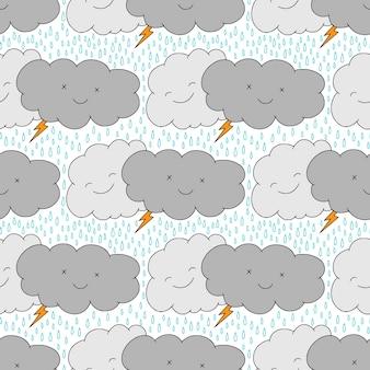 Бесшовный фон с забавными дождливыми облаками. каваи детский фон. пижамный дизайн из ткани.