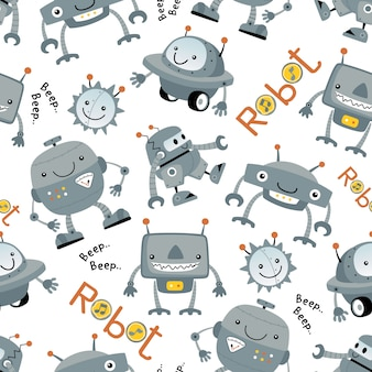 Seamless pattern with funny robot cartoon