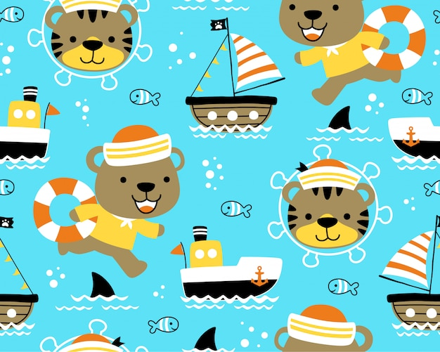 Seamless pattern with funny sailor cartoon