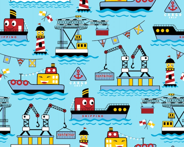 Seamless pattern with funny ships cartoon