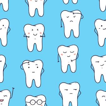 다른 감정을 표현하는 재미있는 이빨을 가진 매끄러운 패턴입니다. 파란색 배경에 친절한 만화 캐릭터가 있는 배경. 벽지, 포장지에 대 한 밝은 색된 벡터 일러스트 레이 션.