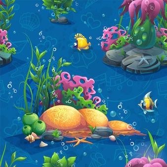 Seamless pattern with funny underwater plants and fish