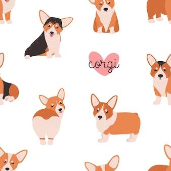 흰색 바탕에 재미 있는 웨일스 어 corgi와 함께 완벽 한 패턴입니다. 작고 사랑스러운 순종 개, 강아지, 재미있는 애완 동물 또는 가축이 있는 배경. 평면 만화 스타일의 다채로운 벡터 일러스트 레이 션.