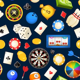 Seamless pattern with gambling and other casino entertainments