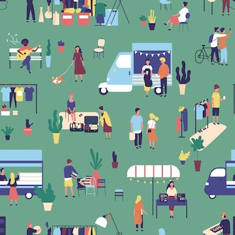 Seamless pattern with garage sale, outdoor festival.