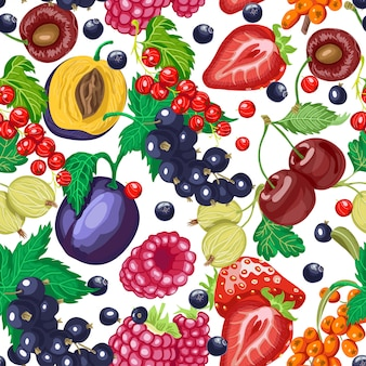 Seamless pattern with garden berries