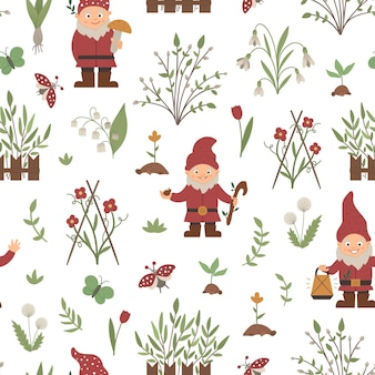 Seamless pattern with garden gnomes