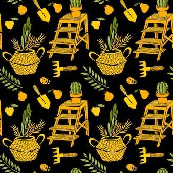 庭のものバスケット植物本棚梨シャベルサボテンとのシームレスなパターン