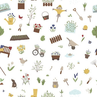 Бесшовные модели с садовыми принадлежностями