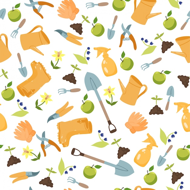 Seamless pattern with garden tools on a white background.