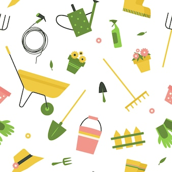 Seamless pattern with garden tools on white background.