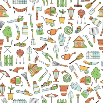 The seamless pattern with garden tools.