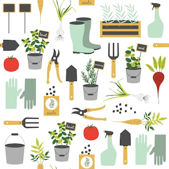 Seamless pattern with gardening elements.