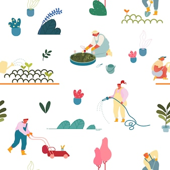 Seamless pattern with gardening people planting and caring of trees and plants in garden on white background.