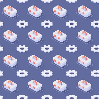 Seamless pattern with gear wheels and toolbox