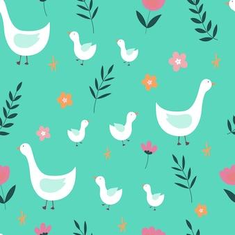 Бесшовный фон с гусями и цветами на зеленом фоне