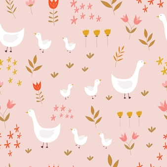 ピンクの背景にガチョウと花とのシームレスなパターン