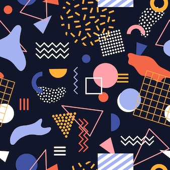 Seamless pattern with geometric shapes, stains, zigzag lines and dots on black