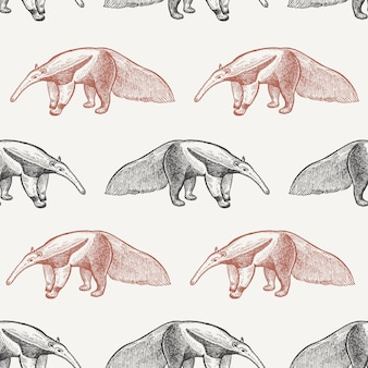 Seamless pattern with giant anteater.
