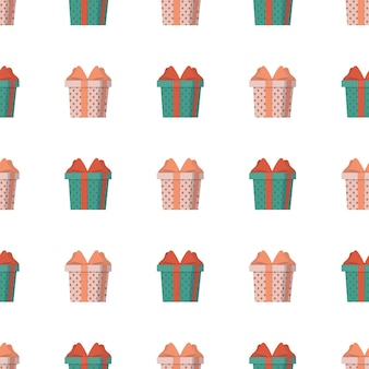Seamless pattern with a gift. background with a gift box. suitable for backgrounds, cards and wrapping paper. good on the topic of new years, birthday and valentine's day. vector.