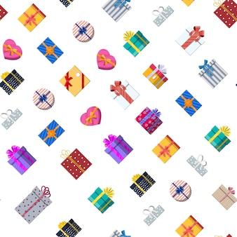 Бесшовный фон с подарочными коробками на белом. красочная упаковка. продажа, шоппинг. присутствуют коробки разных размеров с бантами и лентами. сборник на день рождения и праздник. векторная иллюстрация в плоском стиле