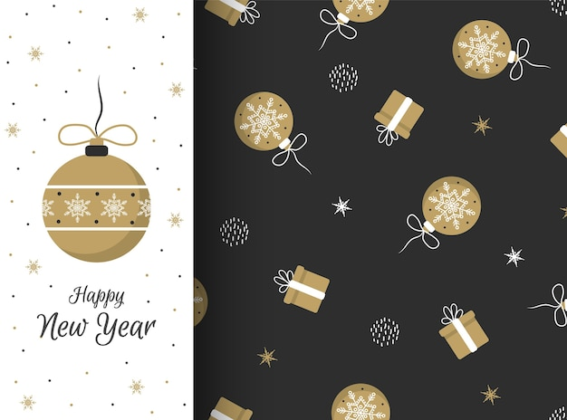 暗い背景にギフトやクリスマスボールとのシームレスなパターン。休日の招待状、冬のグリーティングカード、壁紙、ギフト用紙に最適です。フラットスタイル。