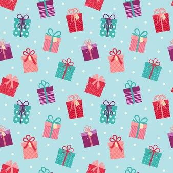 Бесшовный фон с подарками, красивый фон с подарками, векторные иллюстрации