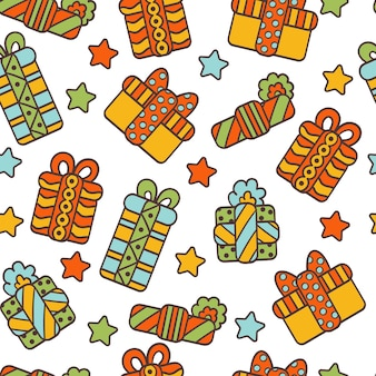 Seamless pattern with  gifts in holiday packaging and stars