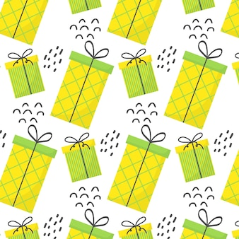 Seamless pattern with gifts pattern with green and yellow gifts