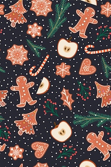 Seamless pattern with gingerbread and apples.