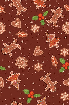 Seamless pattern with gingerbread and berries.
