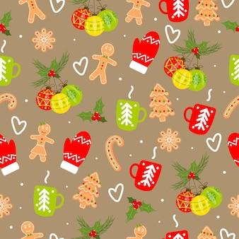 진저 브레드 크리스마스 공 장갑 차 한잔과 함께 완벽 한 패턴