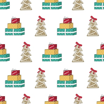 Seamless pattern with gingerbread christmas tree gift and words festive print for happy new year and...