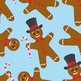Seamless pattern with gingerbread cookie