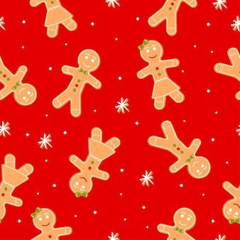 ジンジャーブレッドマンの女の子とスノーフレークのクリスマスクッキーとのシームレスなパターン