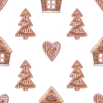 Seamless pattern with gingerbread on a white background