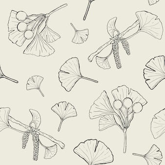Seamless pattern with ginkgo biloba branches and leaves, flowers, berries. medical, botanical plant background.