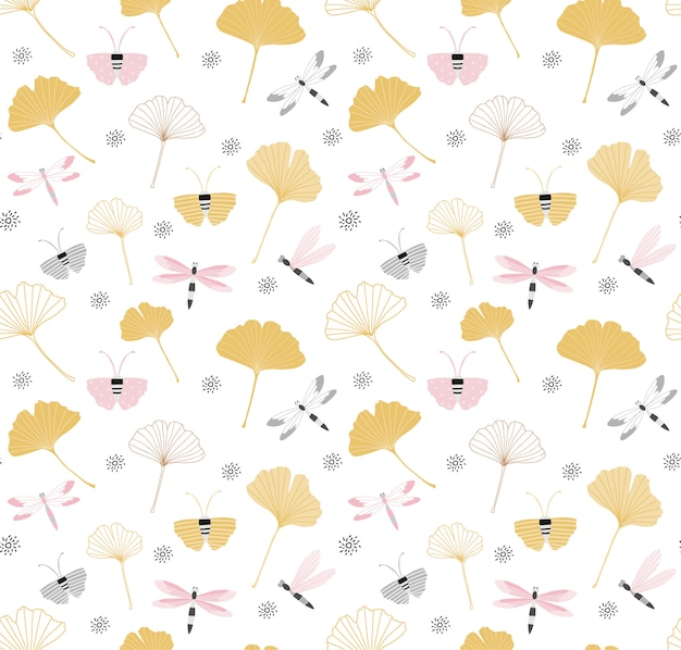 Seamless pattern with ginkgo leaves