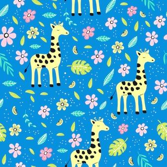 Бесшовный фон с жирафом