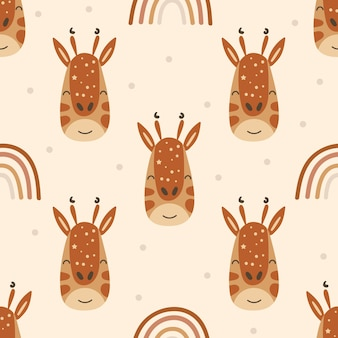 Seamless pattern with giraffes and rainbows.