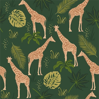 Seamless pattern with giraffes and tropical leaves.