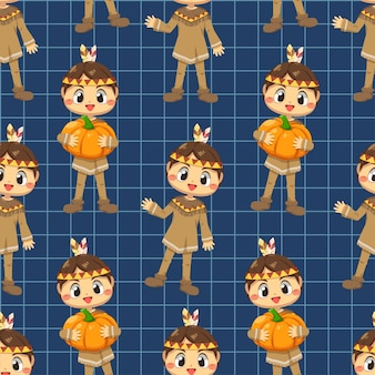 Seamless pattern with a girl holding a pumpkin